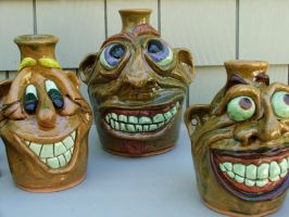 3 face jugs by SaggyJugPottery
