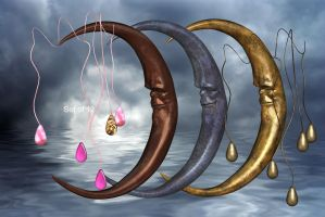 Moons and Dangles by oldhippieart