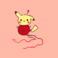 commission - pikachu playing with a ball of yarn by pikaira