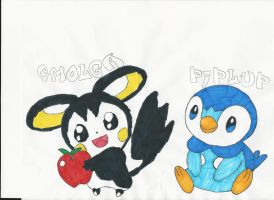 Emolga   Piplup by emogal96