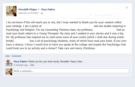 My message and response from Mary Pipher! by mlphipps1991