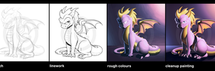 Digi Painting Process - Spyro by Indivicolours