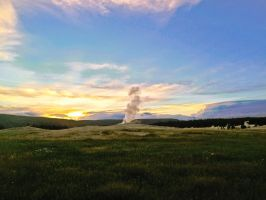 Old Faithful at Sunset #3 by KRHPhotography