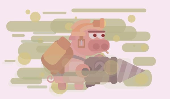 Digger pig in dust clouds by VanoNTP