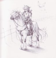 Link and Epona sketch by CaptainNutmeg