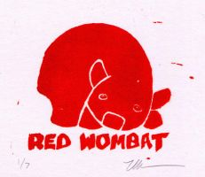 Red Wombat Lino by ursulav