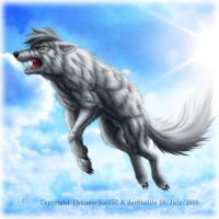 Commission : Wolf with a sky by SheltieWolf
