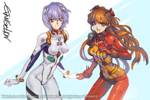 Rei And Asuka Post 2 by JetEffects
