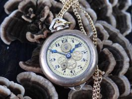 Steampunk watch necklace by Hiddendemon-666