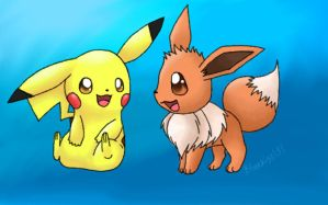 Request: Pikachu and Eevee by Bluekiss131