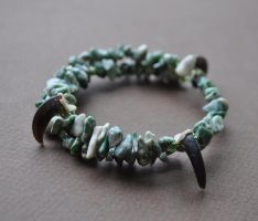 Green and White Agate Coyote Totem Bracelet by MorRokko