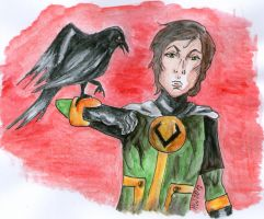 Teen Loki and his magpie by silverbullet72