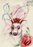 flower deer by TinaGrey