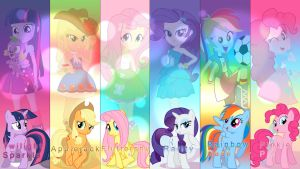 Mane six Equestria Girls wallpaper by DjThunderbolt