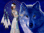 Native American and Blue Wolf by RedHeadFalcon