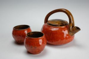 Red Teapot with Teabowls by art-as-air