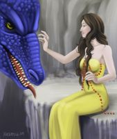 Dragon and Woman by Nehvah
