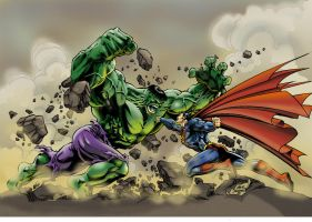 Hulk vs. Superman by Jrascoe