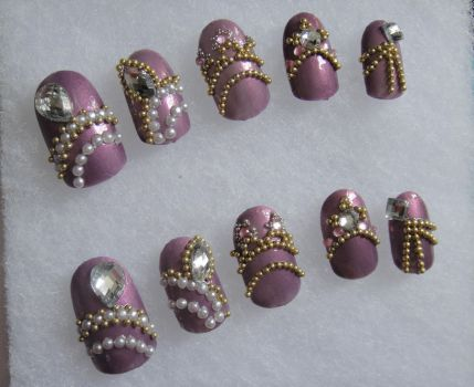 PURPLE NECKLACE STYLE NAILS by jadelushdesigns