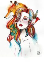 Watercolors Foxy lady by Mighty-Mama