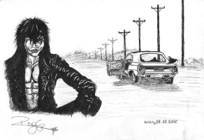 Eric Draven with his car by RockheadGirl