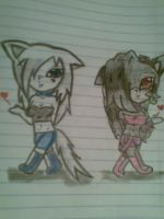 mizore the hedgehog and Ashly the wolf by katherineprosperi