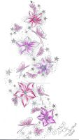 Stars Flower Butterflies Color by 2Face-Tattoo