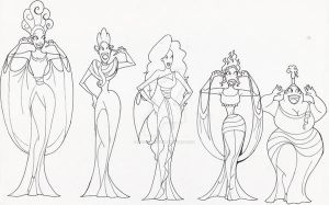 Muses in lineart 2 by DeedNoxious