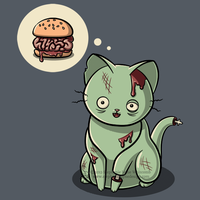 Zombie Cat Can Has Brain Burger? Shirt Design by SingapuraStudio