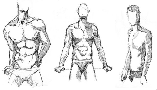 Male nude scetch #7 by leasel