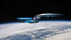 Enterprise D in orbit by Robby-Robert