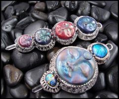 Clay - Glass - Leather Pendants by andromeda