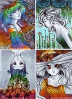 Colorsplash-Set ACEO ATC by Re-belle