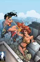 Giantess Wonder Woman vs. Giganta by giantess-fan-comics