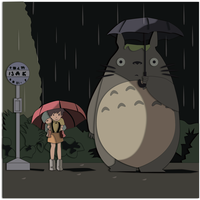 Art Trade:  Totoro Shadowbox Mock-up by The-Paper-Pony