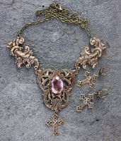 Noble set of topaz necklace and cross earrings by Pinkabsinthe