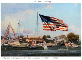 Calvin Liang - July 4th in Newport Beach by OilPaintersofAmerica