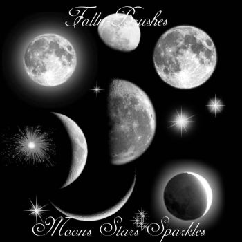 Moons Stars Sparkles Brushes by Falln-Stock