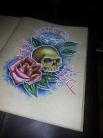 skull and rose by 76Bev