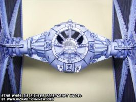 Papercraft Star Wars TIE-fighter close-up by ninjatoespapercraft