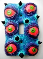 Neon Eyeballs switch plate by dogzillalives