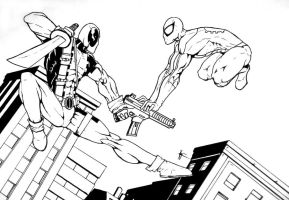 Spiderman vs Deadpool sketch by v-p-j