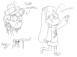 Dipper and Mabel digital sketches by XxSir-Dippingsauce