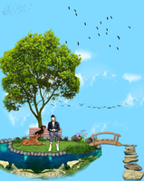 Myungsoo siting on a floating park/island by KpopGurl