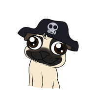 Pug with pirate hat by Pupster0071