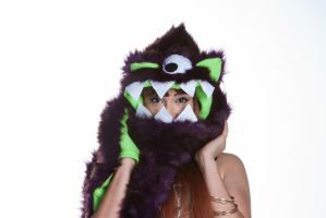Furry One Eyed Monster Hat with Teeth by kawaiibuddies