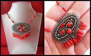 red coral necklace by annie-jewelry