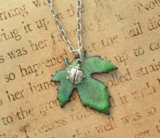 Ladybug Leaf Torch Fired Enamel Necklace by FusedElegance