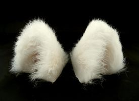 White Real Fur Cat Ears Nekomimi by StorytellerZero