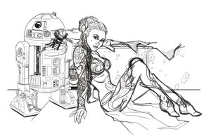 WIP: R2-D2 and Slave Leia by Hodges-Art